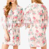 2016 Oversized short sleeve floral print satin bath robe women