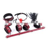 New Design Sex Adult Bondage Toy Set 4 pc Bondage love Kit Collar, Spreader Bar With Wrist & Ankle restraints, Ball gag, Whip