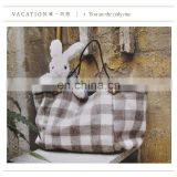 Checker print nature material fashion canvas bag
