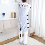 Chi's Sweet Cat Cartoon Flannel Conjoined Polyester Couple Pajamas