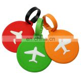 customized airplane logo soft pvc round and rectangle shaped colorful airplane luggage tag baggage tag