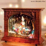 F/O CHURCH WITH RIVER IN W WITH FLAT ROOF Polyresin Christmas House Decoration