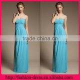 Hot Sale Sweetheart Sleeveless Shealth Empire Style Blue Colour with Ruffles Floor Length Evening Dress