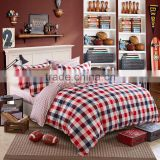 Best selling bright color bed cover quilt red plaid print new bedroom set 100%cotton kids duvet cover set