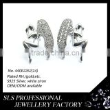 The Fallen Angel designs earring stud for teenager forever young rhodium plated with gemstones ear angel wing charms wholesale