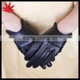 Fashion Short Black Women's Driving Leather Gloves