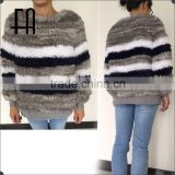 Factory direct wholesale price rabbit knitted fur coat with rib cuff&hem /knitted fur coat