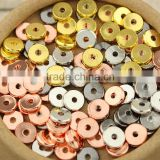 JS1240 silver rose gold gunmetal plated metal flat disc spacer beads,metal heishi beads,metail coin beads                                                                         Quality Choice