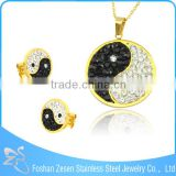 wholesale unisex stainless steel fashion Yin-yang crystal gold jewelry set
