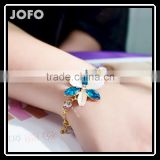 Summer Fashion Women's Flowers Jewlery Bracelets 18K Gold Plated Jewleries Crystal Gem 2-color Opal Stone Jewelry Bracelet