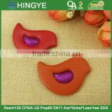 Bird Shape PU fabric Covered badges