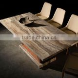 2016 Modern Travertine Top Dining Hot Sale Simple Design Travertine Top Dining Table With Wood Base With Dining Chairs Set
