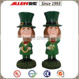 "6.1"" two beautiful resin figurines for Irish decoration ,St.patrick special ornament"