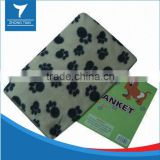 100% polyester super soft warming footprint printed polar fleece pet blanket, dog blanket