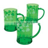 14 oz. 400ml Fashion Personalized Irish Green Cups with Handle Food Grade Plastic Shamrock Beer Mugs for St.Patrick's Day Party