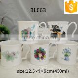 Wholesale ceramic cups for office cafe use 15.5oz/450ml bone china custom coffee mugs