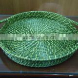 Lacquer round tray, woven rattan tray, bamboo serving tray
