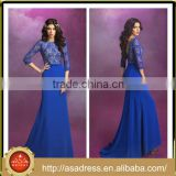C01 Royal Blue Evening Party Gown Low Back 2016 Cheap Lace Appliqued Bodice Modest Prom Dresses with Sleeves for Party