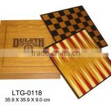 Promotional handmade wooden backgammon checkers chess game set