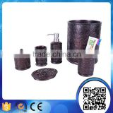 Factory direct black carved flower classical wood bathroom accessories sets with liquid soap dispenser bath set