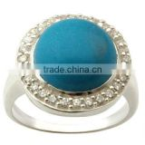 925 sterling silver turquoise ring, Silver gemstone ring, Cz with gemstone ring supplier