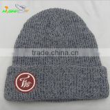 Grey and navy mixed yarn custom felt embroidery logo patch knit beanie winter hat in good quality