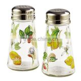 SINOGLASS 2 pcs with FRUIT BOTANICAL decal Square shape clear glass salt & pepper shaker jar set