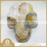 natural hand carved stone agate citrine crystal geode skull factory outlet