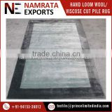 High Quality Hand Loom Viscose Cut Pile Border Carpet with Latex Backed Material