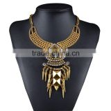 New Design Wholesale Women Vintage Necklace Costume Chunky Metal Chain Choker Bib Statement Necklace Pendants