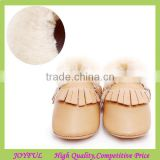 wholesaler winter warm fleece soft leather moccasins boots Baby Girl Shoes