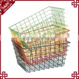 Multi-color eco-friendly painted finished fruit vegetable washing basket wire stacking basket