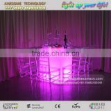 LED Flashing Dining Table Colour Changing Tempered Glass Table Lighted Square Dining Tables