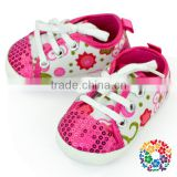 2015 China Baby Crib Shoes Supplier Hot Pink Flower Pattern Spring , Summer , Fall , Newborn Baby Shoes Fancy Baby Girl Shoes