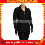 Custom cheap sportswear black soft cotton/spandex plain slim fit thumb hole fashion models sports jacket