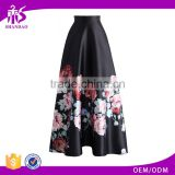 2016 Guangzhou Shandao Latest Design Women Autumn New Western Flower Printed Ruffle Satin Long Maxi Skirt