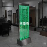 floor standing bubble wall in stainless steel and acrylic with colorful led light