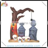 Hot sell inflatable halloween tree, inflatable tombstone with skull in cemetary for halloween decoration