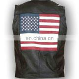 HMB-4950A LEATHER VEST USA FLAG STYLE COWHIDE WAIST COATS AMERICAN