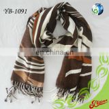 2016 Floral Printed Cashmere Feel Long Fashion Acrylic Scarf with Frings