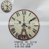 paris tower round metal wall clock, hang clock