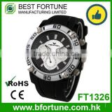 FT1326 Factory price stainless steel case back chrono silicone watchband watch