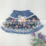 2016 Fashion party wear skirt design hot girls mini skirt denim floral short skirt wholesale factory price
