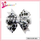 Fashion novelty animal leopard pattern girls hair accessories multilayers solid ribbon bow hairgrips (DW--0023)