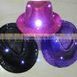 factory supply custom LED flashing lightup sequin fedora hats                                                                         Quality Choice