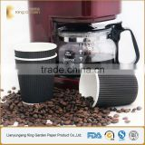Black Color Kraft Ripple Paper Hot Cups with ps lids