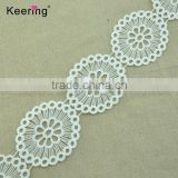 Cheap beautiful white milk fiber 100% polyester decorative bulk lace trim                                                                                                         Supplier's Choice