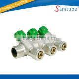 3 way brass manifold with nut and fittings / water distributor / collector for pex al pex pipe