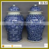 Large decorative temple jar chinese blue and white ginger jar with floral painting