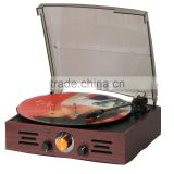 Portable Wooden retro record player with Radio Aux-in Cassette turntable